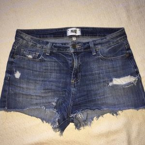 Paige Premium Denim Distressed Cut Off Shorts 28
